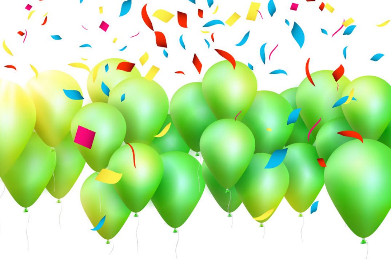 happbday green ballons