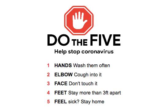help stop coronavirus do the five